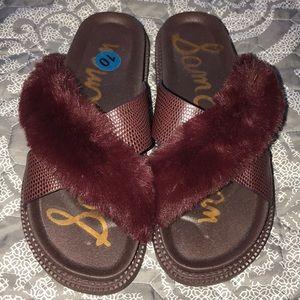 Sandals sz10 burgundy Faux Fur/leather upper NWOT